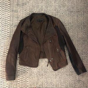 Leather Cashmere Jacket Via Spiga M brown Grey